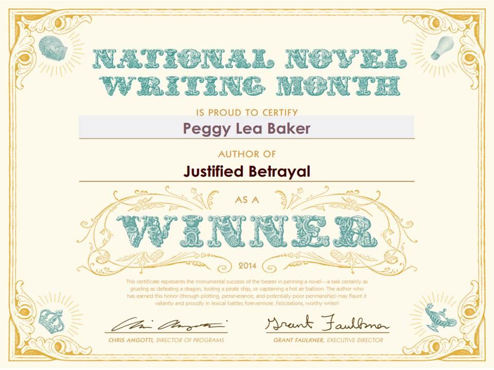 A Winner NaNoWriMo Challenge 2014 Peggy Lea Baker – Certificate Winner
