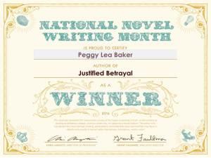 NaNoWriMo - Winner Certificate 2014